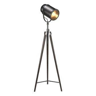 17386 Lampe Sur Pied Noir Vintage Champêtre Rustique Royaume Luminaire