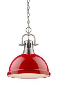 11455 - Luminaire argent brossé et rouge.