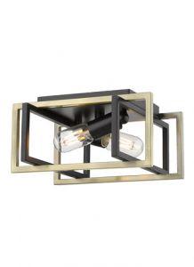 40316 - Plafonnier carré noir et laiton.