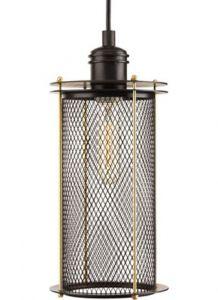21914 - Luminaire suspendu industriel bronze et laiton antique