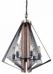 21454 - Luminaire suspendu noir avec bois.