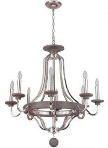 30835 - Luminaire chrome avec bois gris.