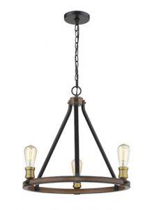 60785 - luminaire suspendu laiton et bois.