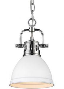17514 - Mini suspendu chrome et blanc.