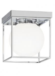 40388 - Plafonnier chrome avec verre blanc.