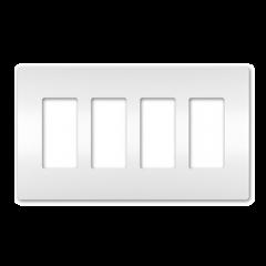 28025 - Plaque quadruple blanche satinée.