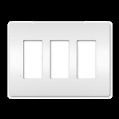 28024 - Plaque triple blanche satinée.