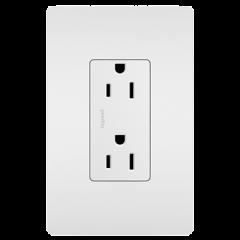 28008 - Prise de courant 15 amp blanche satinée.