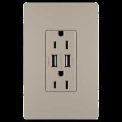 28012 - Prise de courant et USB gris argenté