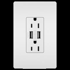 28011 - Prise de courant et USB blanche satinée.
