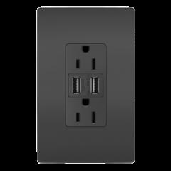 43187 - Prise noir mat et USB