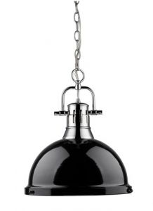11039 - Luminaire suspendu chrome et noir.