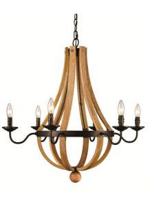 14015 - Luminaire chandelier en bois.