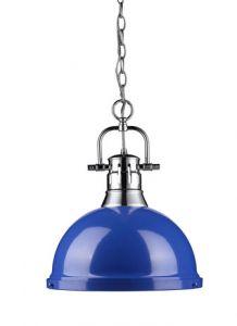 15850 - Luminaire suspendu chrome et bleu.