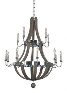 17444 - Luminaire chandelier en bois haut de gamme