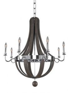 17443 - Luminaire chandelier en bois