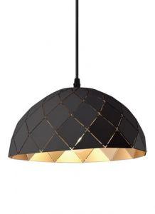 54637- Dome suspendu noir et laiton